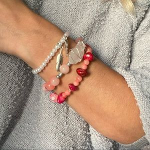 Jewelry - Pink and white bracelet stack